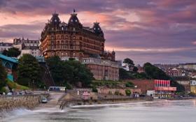 Картинка море, мост, дом, Англия, отель, набережная, Северный Йоркшир