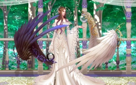 Обои девушка, деревья, black & white, эльф, крылья, ангел, перила