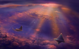 Обои небо, полет, арт, существа, скаты