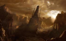 Обои солнце, горы, скалы, башня