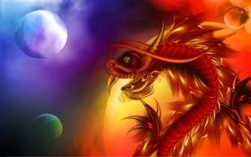Обои чешуя, дракон, клыки, шары