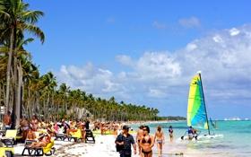 Обои песок, пляж, люди, Доминикана, солнце, вода