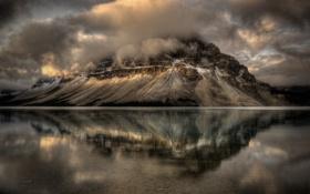 Картинка пейзаж, тучи, озеро, гора
