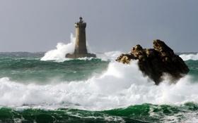 Обои море, волны, небо, природа, скалы, маяк