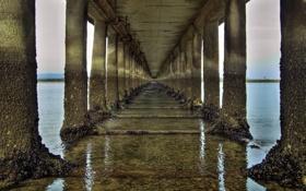 Обои колонны, пейзажи, тоннель, мост, вода