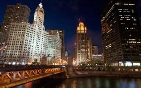 Обои ночь, мост, город, огни, река, флаги, Chicago