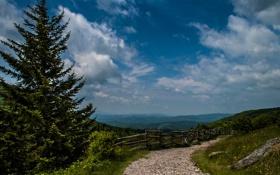 Картинка дорога, небо, облака, горы, дерево, ограда