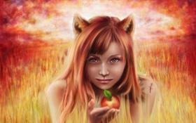Обои взгляд, девушка, лицо, фантастика, волосы, яблоко, арт