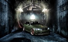 Картинка green, стены, тюнинг, бмв, BMW, зелёный, передняя часть