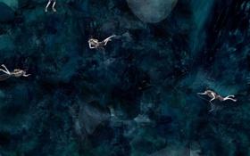 Картинка океан, обои, рисунок, минимализм, арт, аквалангисты