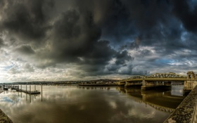 Картинка тучи, мост, река, пасмурно, причал, Великобритания, набережная
