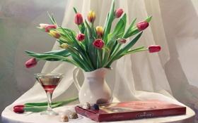 Обои праздник, вино, бокал, букет, конфеты, тюльпаны, натюрморт