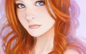 Обои арт, девушка, лицо, рыжая