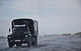 Обои зима, дорога, небо, грузовик, ЗИЛ, 130, zil
