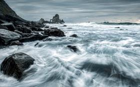 Картинка камни, ночь, пейзаж, море