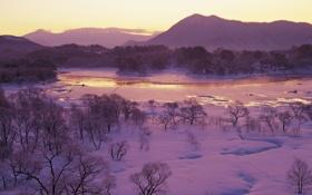 Обои лес, снег, горы, река, Зима