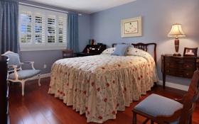 Картинка фото, Дизайн, Лампа, Кровать, Интерьер, Спальня, Стулья