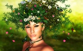 Обои девушка, бабочки, цветы, пыльца, Природа