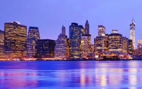 Картинка вода, ночь, город, lights, огни, небоскрёбы, panorama