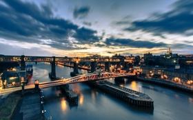 Обои мост, Англия, мосты, ночной город, Ньюкасл, England, Newcastle