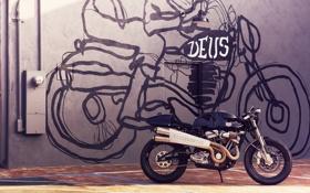 Картинка черный, модель, мотоцикл, кастом, custom, кастомайзинг, Deus Ex Machina