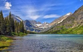 Обои Озеро Жозефина, Glacier National Park, Lake Josephine, Montana, Монтана, Национальный парк Глейшер, горы