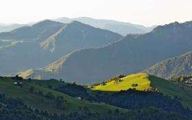 Обои солнце, свет, горы, холмы, поля, дома, тень