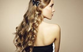 Картинка взгляд, девушка, фон, бабочка, платье, профиль, украшение