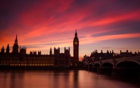 Картинка небо, облака, мост, часы, Англия, Лондон, башня