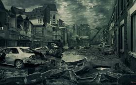 Обои машины, тучи, город, апокалипсис, разрушение, развалины