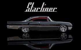 Картинка фон, чёрный, автомобиль, классика, Ford Starliner