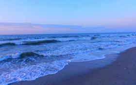 Обои песок, море, волны, небо, закат, берег, камушки