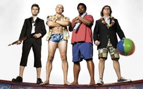 Обои белый фон, джакузи, постер, мужчины, гарпун, Craig Robinson, Adam Scott