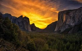Картинка Yosemite National Park, пейзаж, горы, California