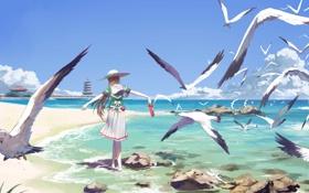 Картинка песок, небо, девушка, облака, камни, океан, берег