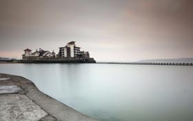 Обои море, мост, England, Weston-Super-Mare