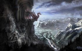 Картинка горы, город, замок, скалы, дракон, долина, арт