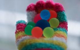 Обои шарики, полосы, перчатка, многоцветие