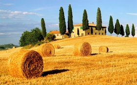 Обои дом, село, сено