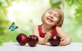 Обои девочка, яблоки, улыбка, бабочка