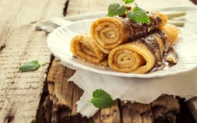 Картинка Шоколад, Тарелка, Еда, Блины
