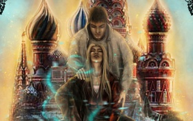 Картинка девушка, магия, Москва, парень, купола