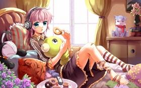 Картинка кошка, кот, девушка, музыка, комната, игрушки, подушки