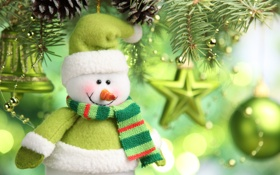 Обои green balls, Новый год, елка, snowman, christmas tree, new year, зеленые шары