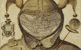 Картинка рисунок, карта, древность, шут, гравюра