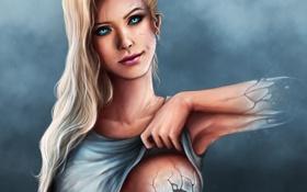 Обои рука, трещины, арт, девушка, взгляд, ухмылка
