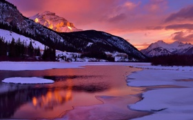 Обои облака, небо, зима, горы, снег, отражение, озеро