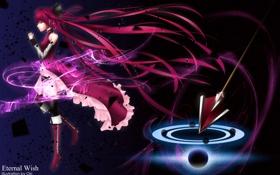 Обои девушка, улыбка, оружие, магия, art, молитва, mahou shoujo madoka magica