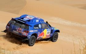 Картинка Песок, Синий, Volkswagen, Пустыня, Red Bull, Touareg, Rally