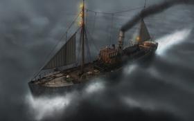 Обои корабль, графика, море